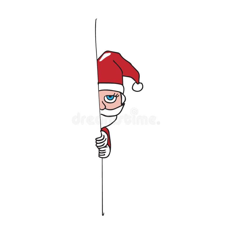 Kerstmanhuid achter de tekening van het muurbeeldverhaal vector illustratie