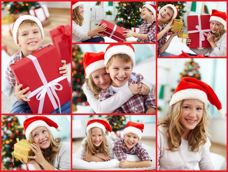 Kerstmanjonge geitjes royalty-vrije stock foto