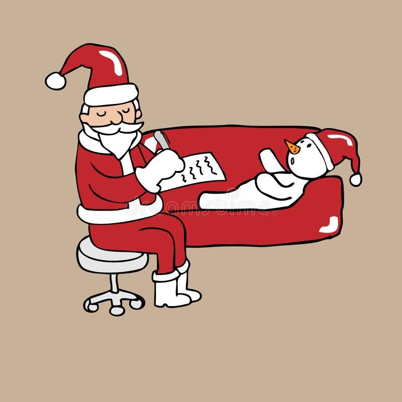 Kerstmanpsychiater en sneeuwman vector illustratie