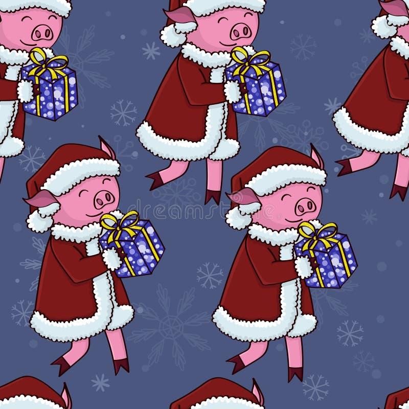 Kerstmanvarken met giftenpatroon stock illustratie