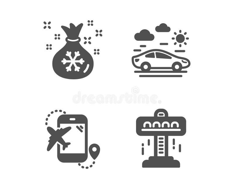 Kerstmanzak, Vluchtbestemming en de pictogrammen van de Autoreis Aantrekkelijkheidsteken Giftenzak, Vliegtuigreis, Vervoer Vector stock illustratie