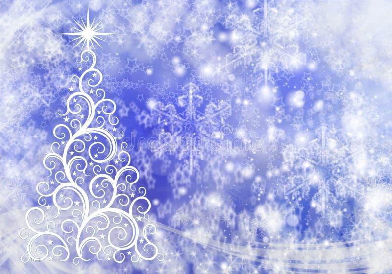 Kerstmis abstracte achtergrond met lichten en sneeuwvlokken stock afbeeldingen