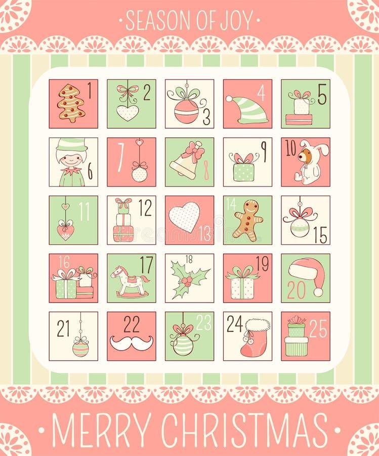 Kerstmis Advent Calendar stock illustratie