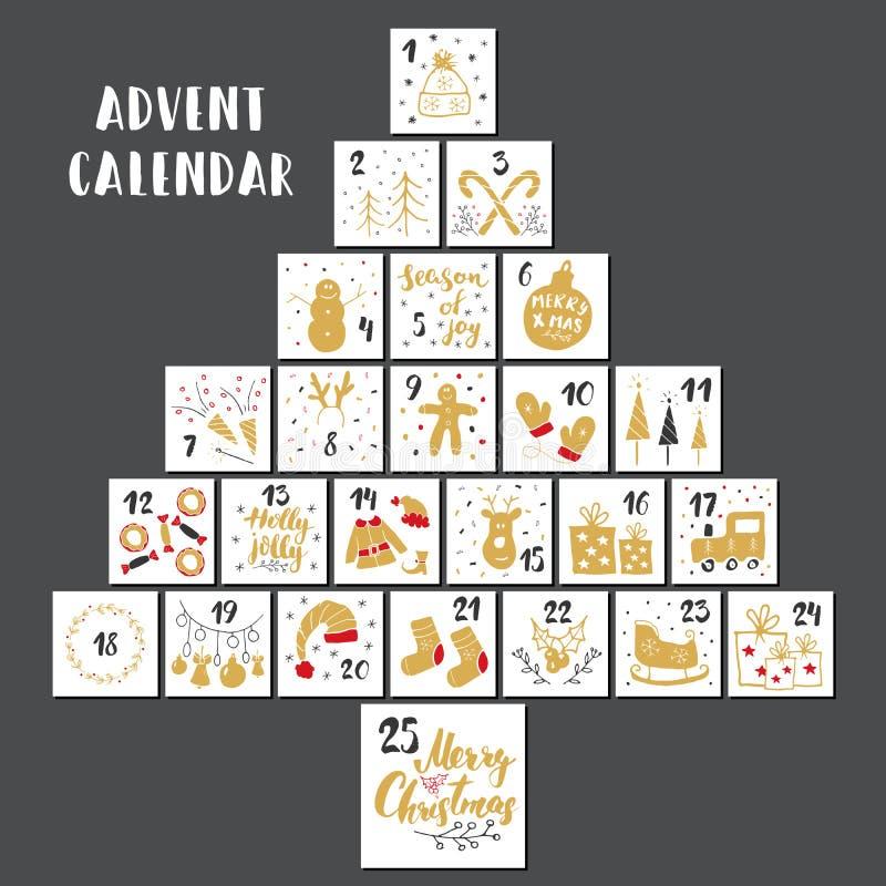 Kerstmis Advent Calendar Hand getrokken elementen en aantallen De kalenderkaarten van de de wintervakantie geplaatst ontwerp, Vec royalty-vrije illustratie
