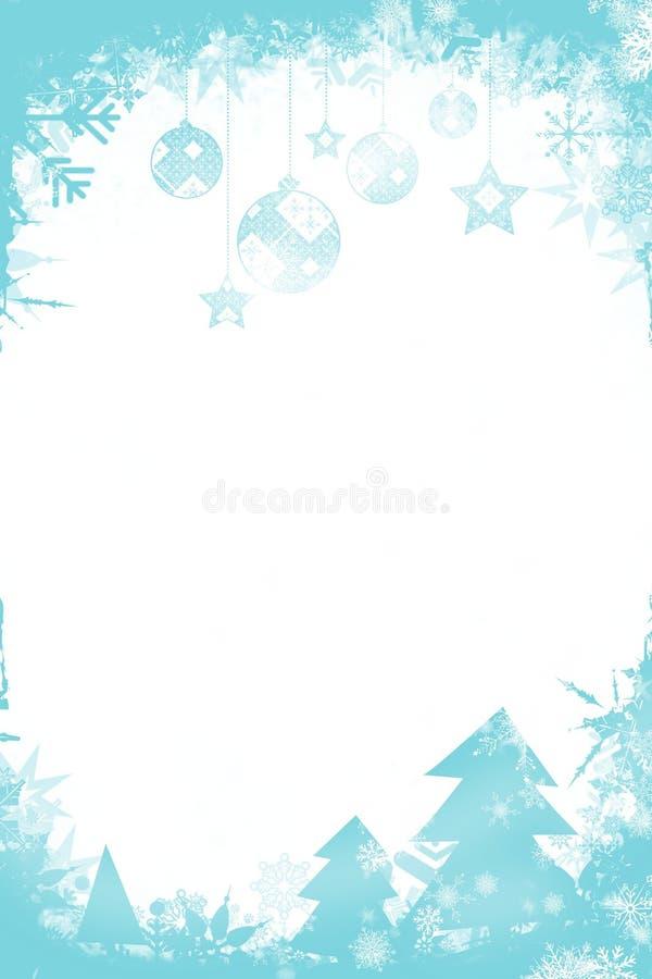 Kerstmis als thema gehad kader in blauw stock illustratie
