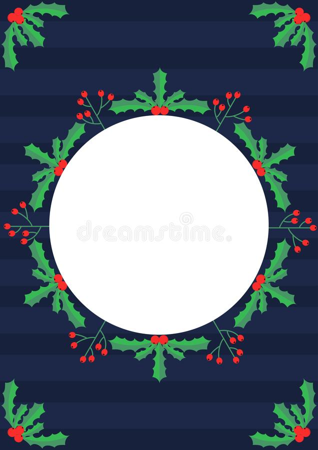 Kerstmis als thema gehad maretak en bessenkader royalty-vrije illustratie