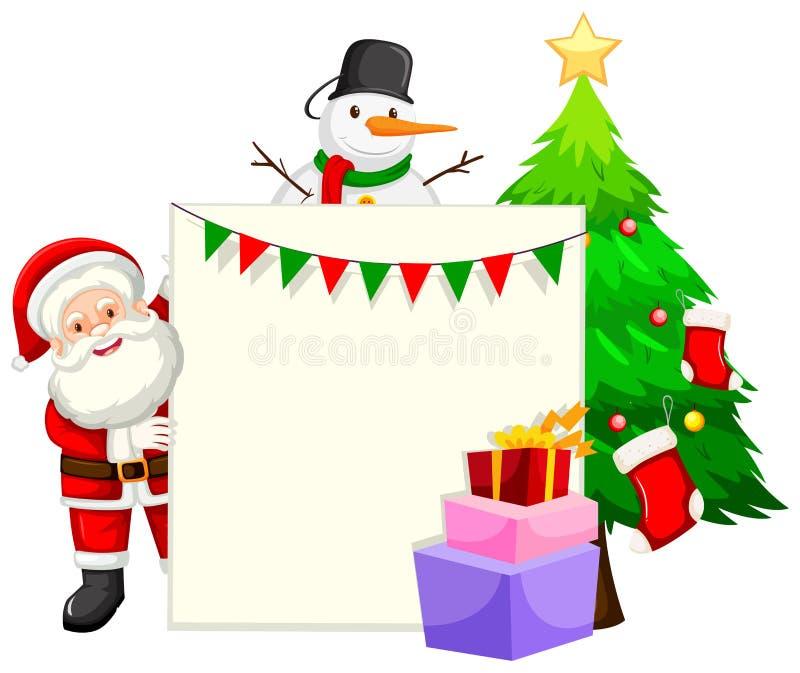 Kerstmis als thema gehade document framae vector illustratie