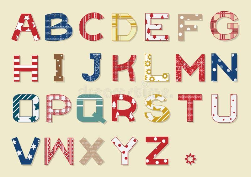 Kerstmis Art Alphabets stock illustratie