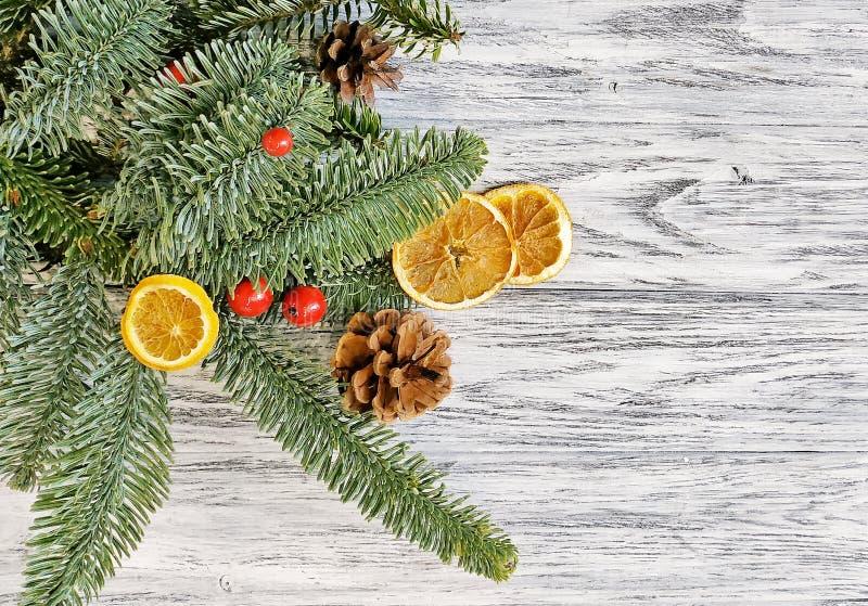 Kerstmis atmosferische achtergrond - droog sinaasappelen en van pijnboomtakken close-up Vrolijke Kerstmis royalty-vrije stock afbeelding