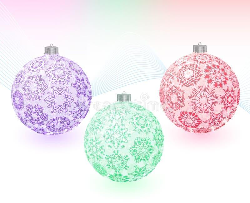 Kerstmis-ballen met sneeuwvlokkentextuur stock illustratie