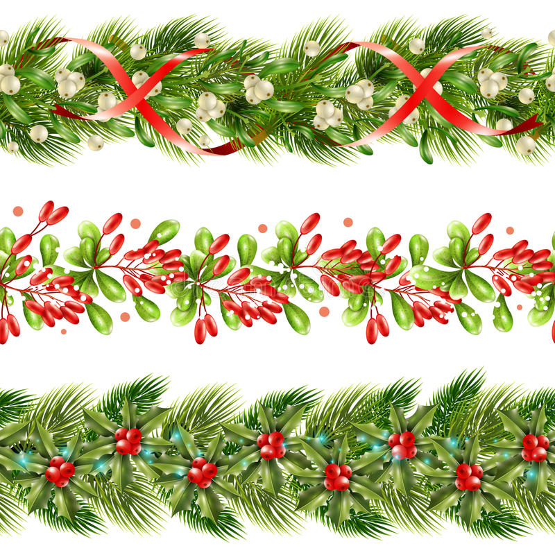 Kerstmis Berry Border Seamless Pattern Set stock illustratie