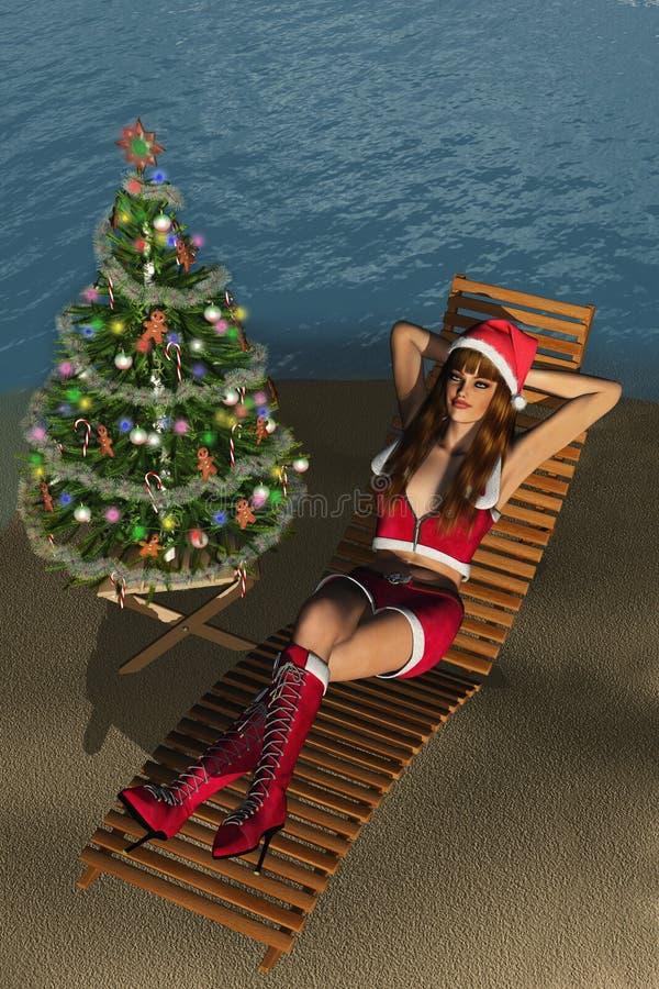 Kerstmis bij het Strand vector illustratie