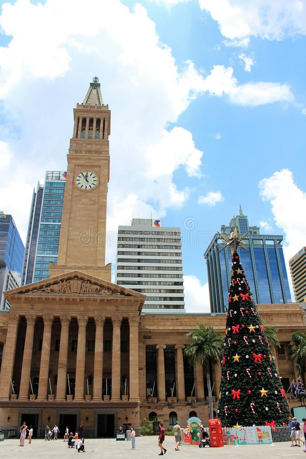 Kerstmis bij Koning George Square in Brisbane stock foto's
