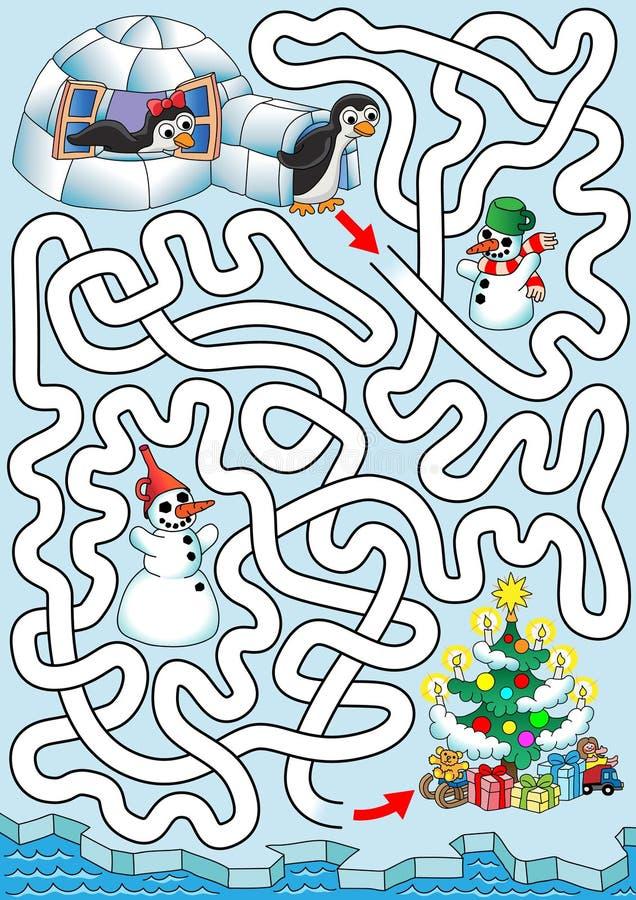 Kerstmis bij pinguïnen stock illustratie