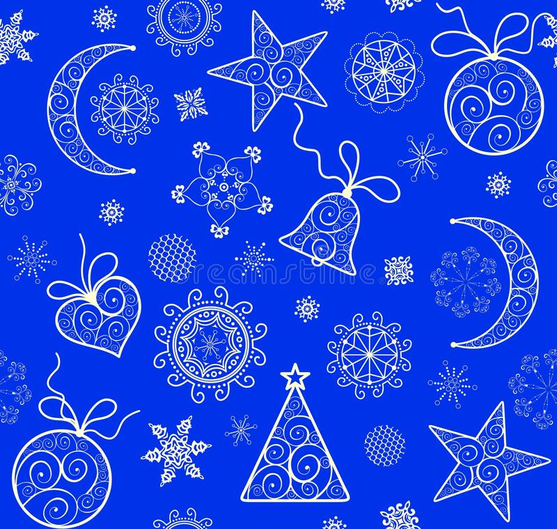 Kerstmis blauw behang met uitstekend gouden patroon stock illustratie