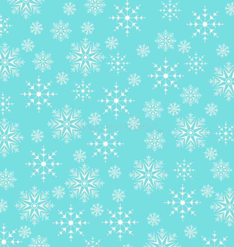 Kerstmis blauw behang, sneeuwvlokkentextuur royalty-vrije illustratie