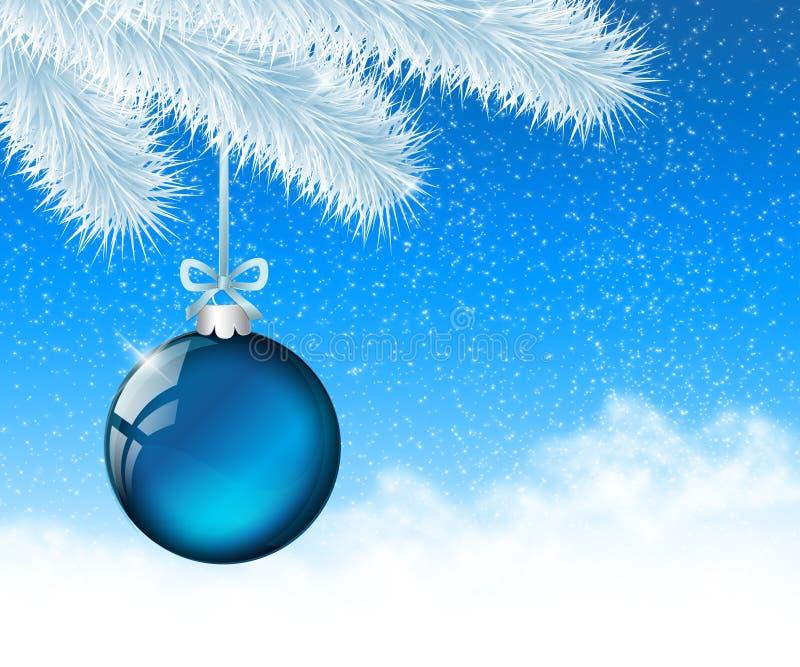 Kerstmis blauwe bal 1 royalty-vrije illustratie