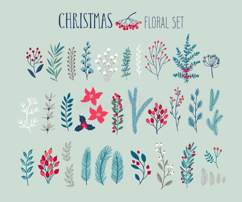 Kerstmis bloemenreeks - getrokken hand vector illustratie