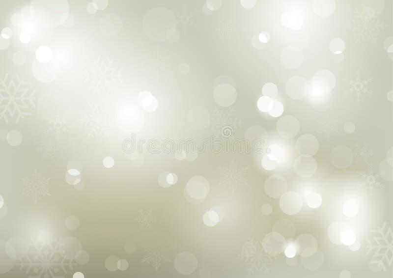Kerstmis bokeh achtergrond met sneeuwvlokken vector illustratie