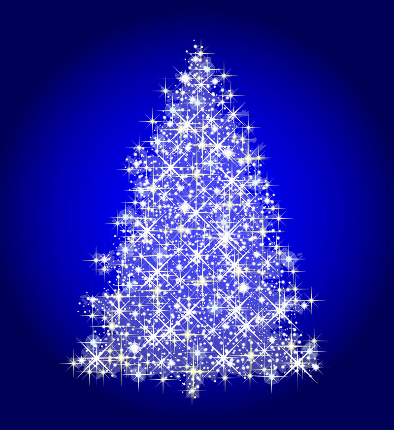 Kerstmis boom op blauw stock illustratie