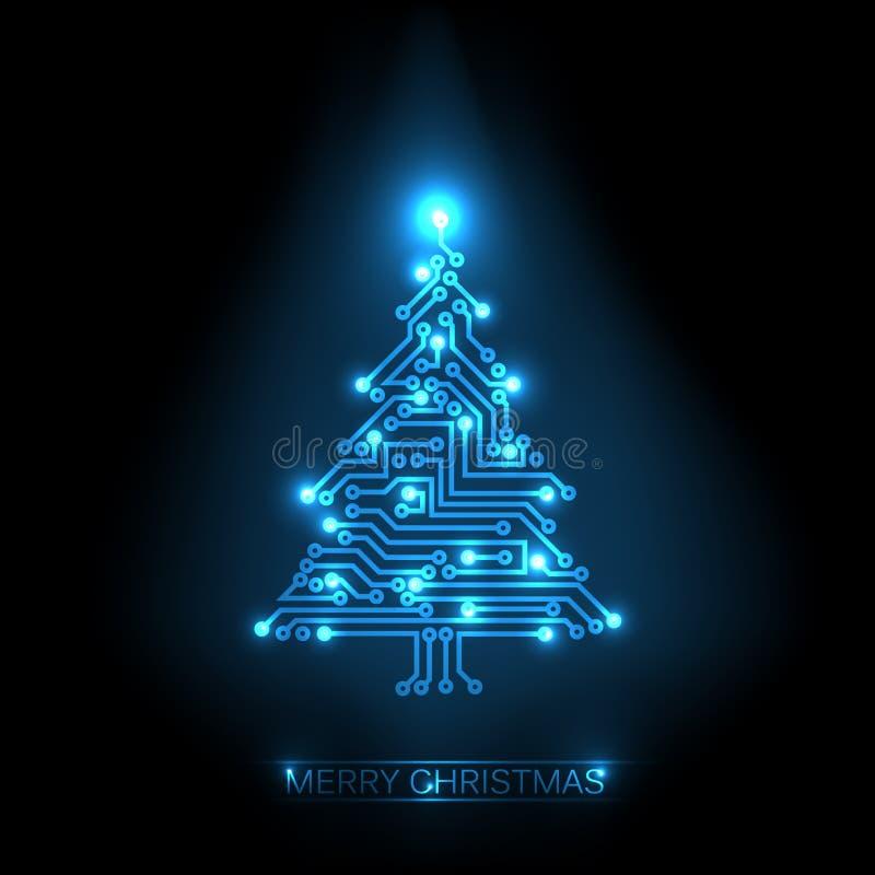 Kerstmis boom van digitale kring royalty-vrije illustratie