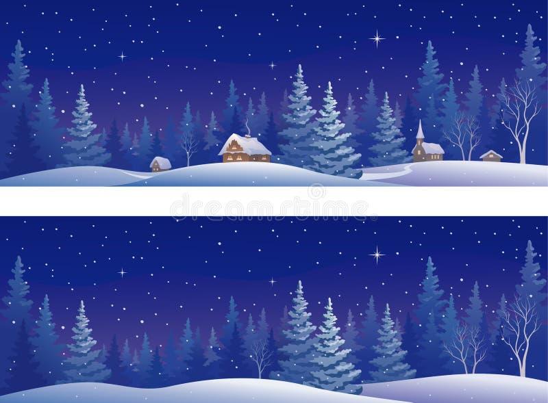Kerstmis bosbanners royalty-vrije illustratie