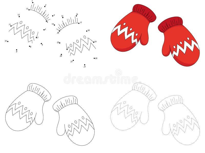 Kerstmis breide wollen vuisthandschoenen Punt om spel voor jonge geitjes te stippelen royalty-vrije illustratie