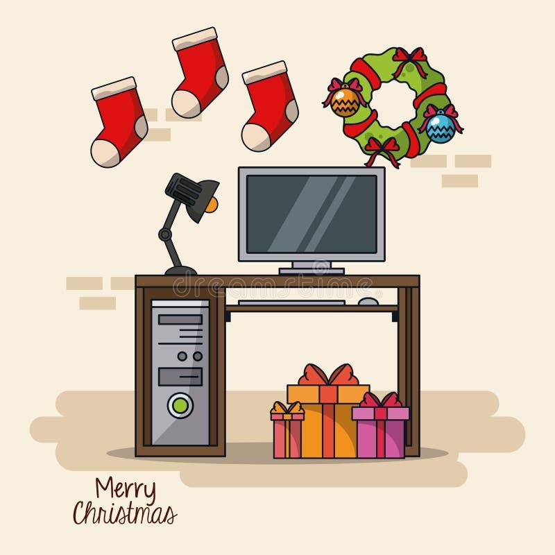 Kerstmis in bureau royalty-vrije illustratie