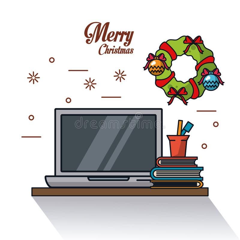 Kerstmis in bureau vector illustratie