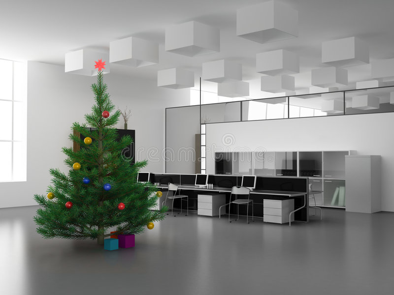Kerstmis in bureau stock illustratie