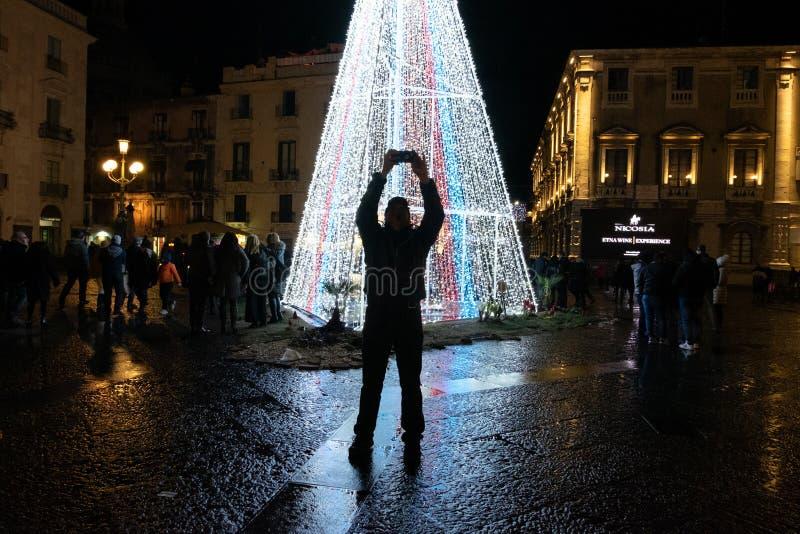 Kerstmis in Catanië - met Selfie stock afbeelding