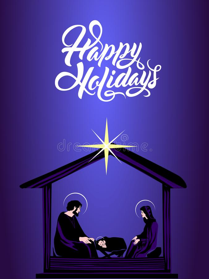 Kerstmis Christian Nativity Scene vector illustratie