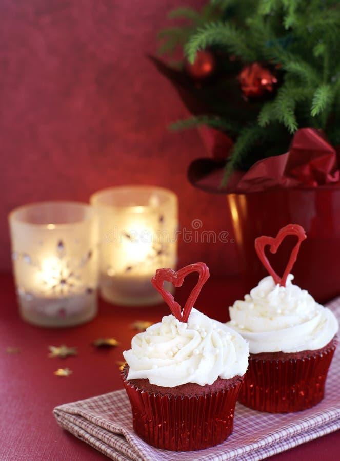 Kerstmis cupcakes royalty-vrije stock afbeelding