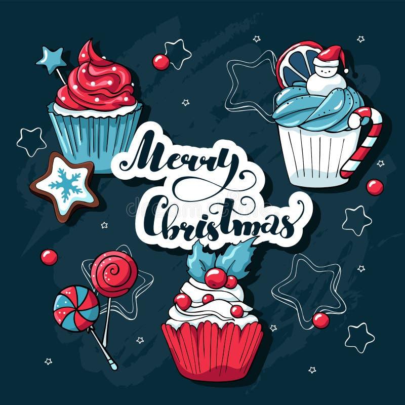 Kerstmis cupcakes en snoepjes vectorreeks Krabbelhand getrokken illustratie met het vrolijke Kerstmis van letters voorzien Getrok royalty-vrije illustratie