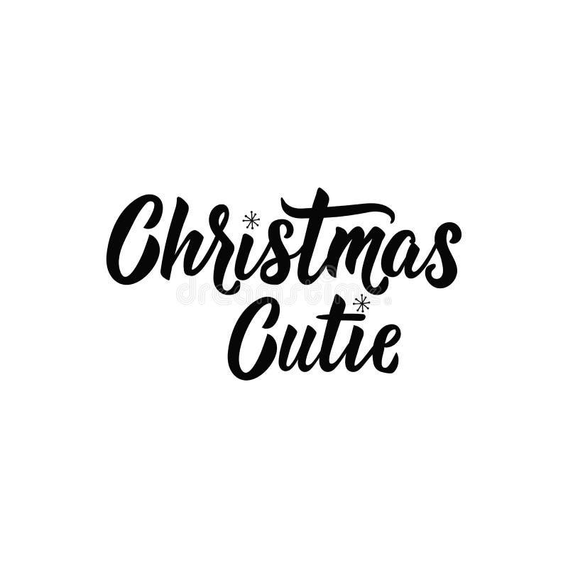 Kerstmis Cutie lettering Hand getrokken vectorillustratie element voor vliegers, banner, t-shirt en van de afficheswinter vakanti vector illustratie