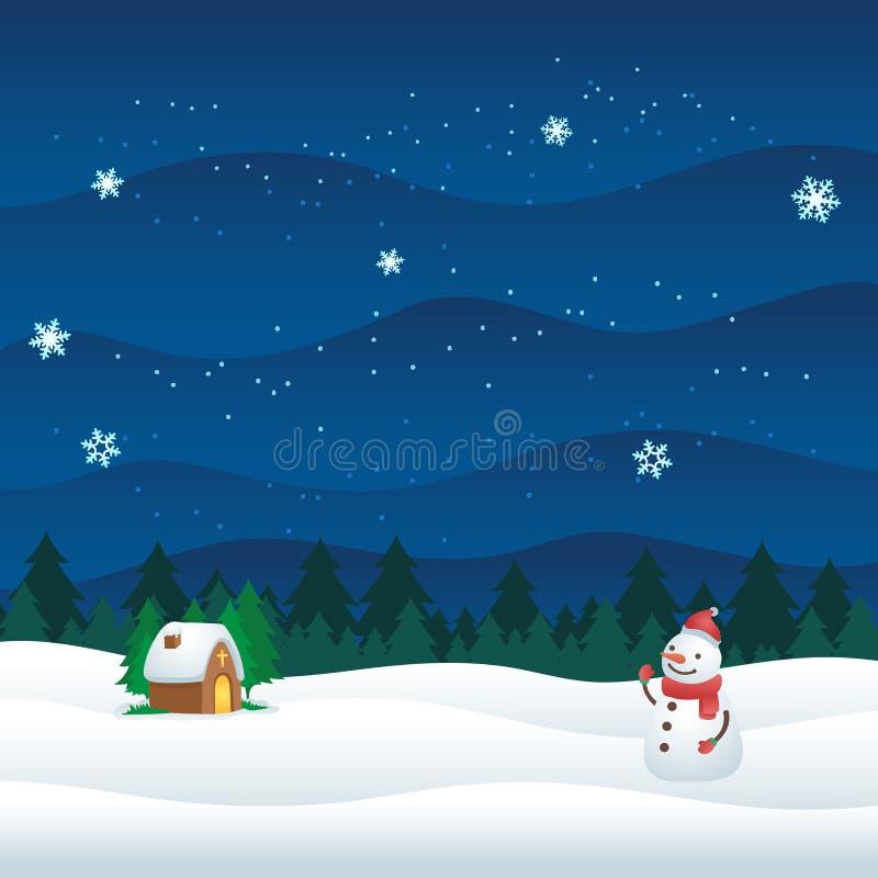 Kerstmis in de Bewolkte Sneeuwvlokken van de Kerkwinter stock illustratie