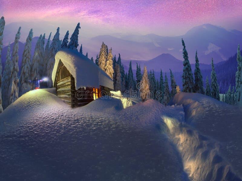 Kerstmis in de Karpaten stock afbeelding