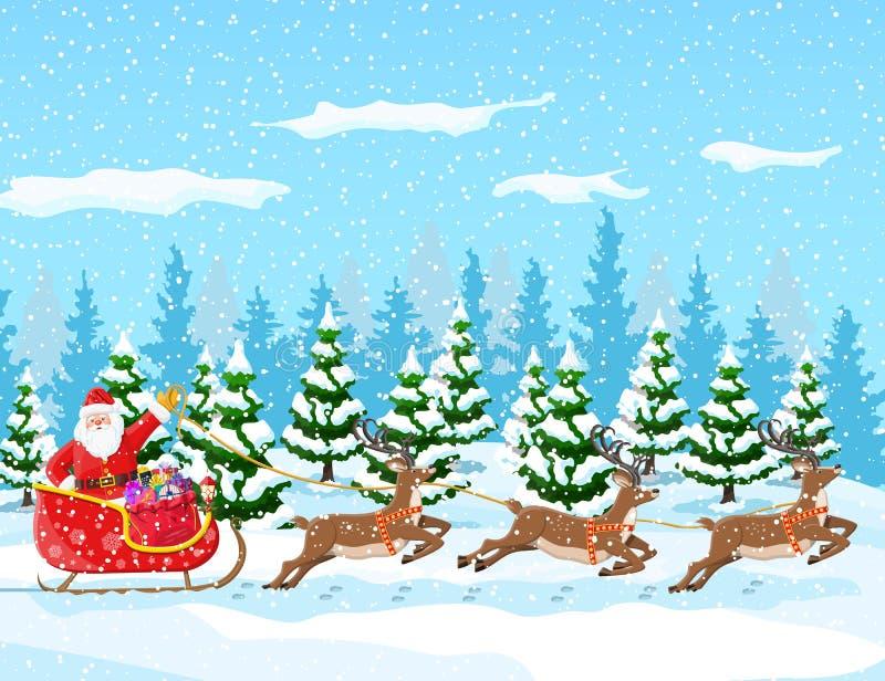Kerstmis de Kerstman berijdt rendierar royalty-vrije illustratie