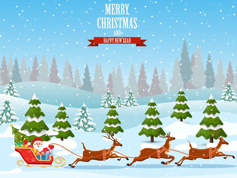Kerstmis de Kerstman berijdt rendierar vector illustratie