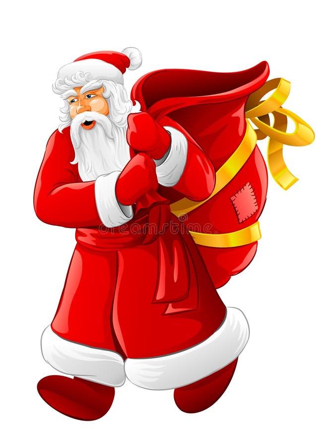 Kerstmis de Kerstman die met grote lege zak loopt royalty-vrije illustratie