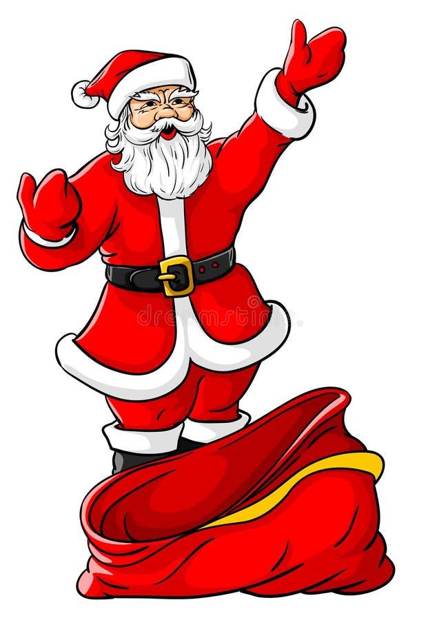 Kerstmis de Kerstman met grote lege zak vector illustratie