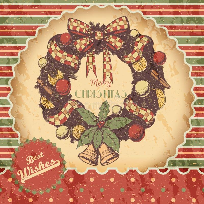 Kerstmis of de Nieuwe getrokken jaarhand kleurde vectorillustratie - kaart, affiche Kerstmiskroon met ornamenten, boog, klokken vector illustratie