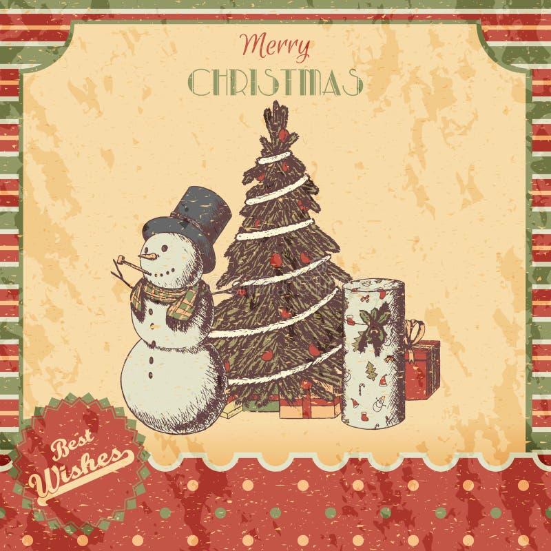 Kerstmis of de Nieuwe getrokken jaarhand kleurde vectorillustratie - kaart, affiche Sneeuwman in lange hoed, Kerstmisboom en gift vector illustratie