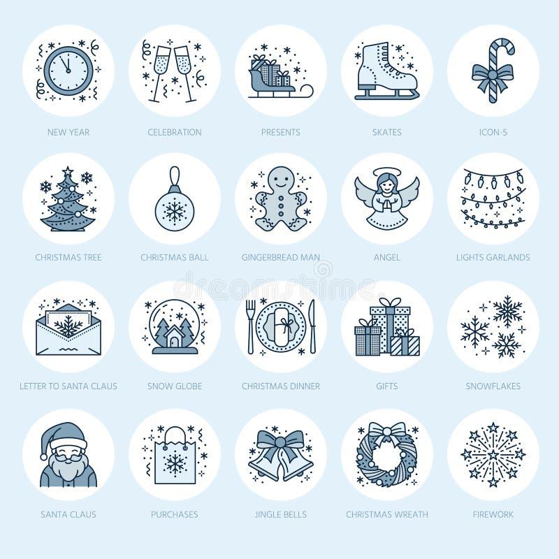 Kerstmis, de nieuwe pictogrammen van de jaar vlakke lijn De vakantie van de winter vector illustratie