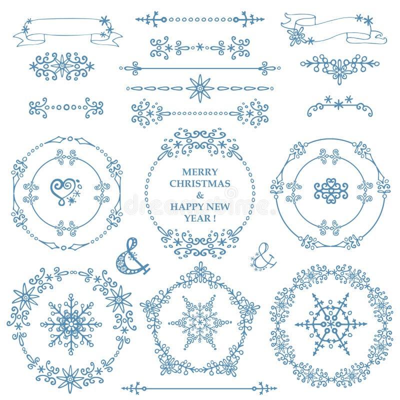 Kerstmis, de Nieuwe reeks van het jaardecor De winter Kaderskroon vector illustratie