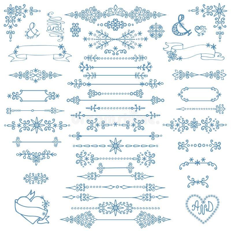 Kerstmis, de Nieuwe reeks van het jaardecor De winterelementen royalty-vrije illustratie