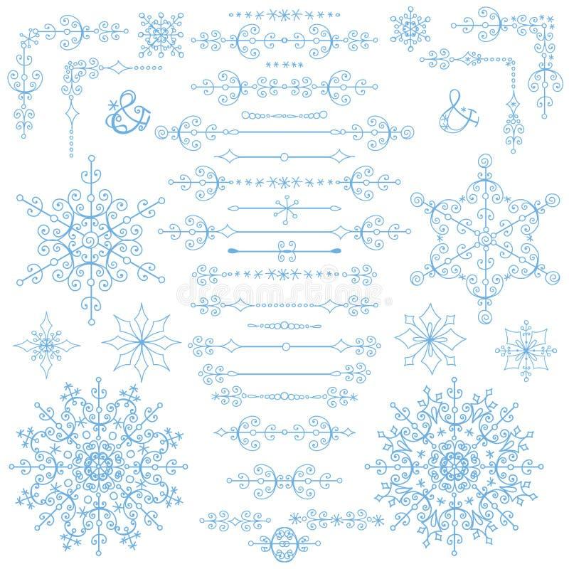 Kerstmis, de Nieuwe reeks van het jaardecor De wintergrenzen, elementen vector illustratie