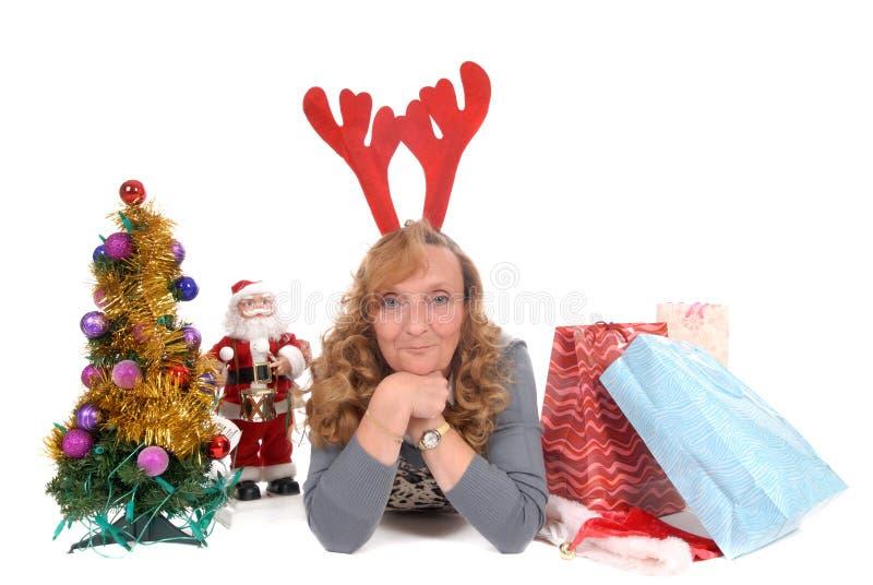 Kerstmis, de vrouw van Kerstmis royalty-vrije stock afbeeldingen