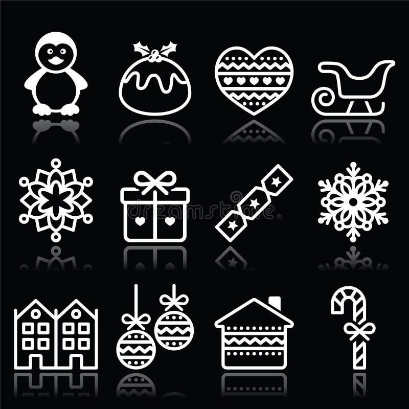 Kerstmis, de winter witte pictogrammen met slag op zwarte vector illustratie