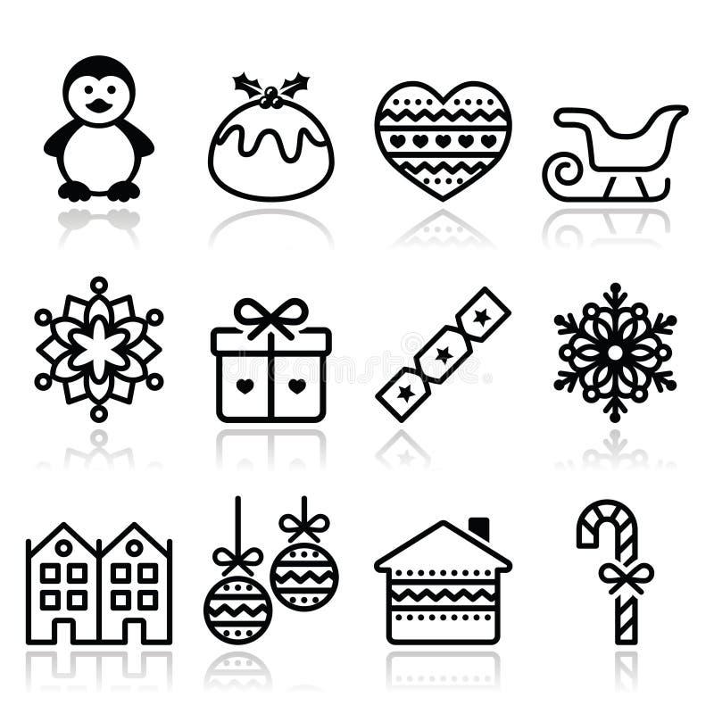 Kerstmis, de winterpictogrammen met slag - pinguïn, Kerstmispudding vector illustratie